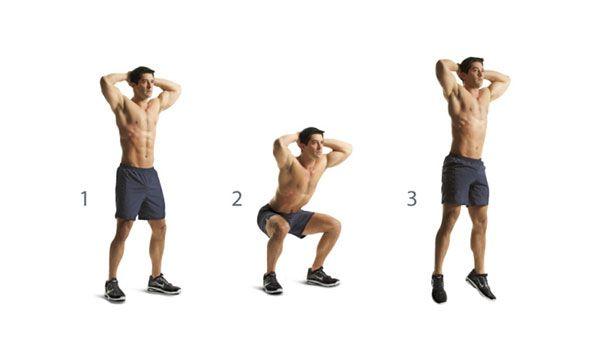 squats con salto fuori